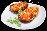 Баклажан запечённый с сыром тофу и помидорами